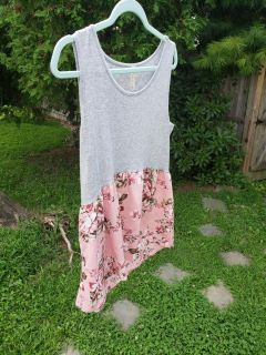 Heather grey and light pink floral two tone top