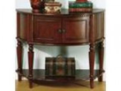 Brown finish wood console hall table with storage area and botto