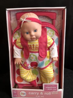 Baby Doll with rolling Backpack 12.00
