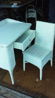 Vintage Wicker desk and chair