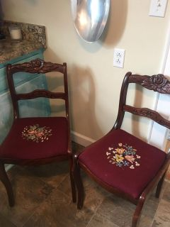 Antique chairs, hand carved and hand embroidered