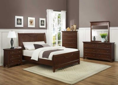 Alyssa Bedroom Set - Cherry 4pc set (QB+NS+DR+MR