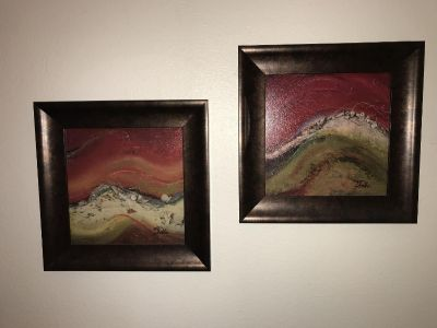 2 abstract framed complimentary pictures