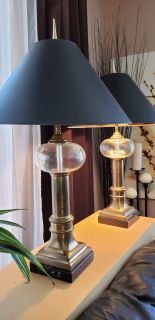 Chapman lamp pair brass with crystal and marble bases