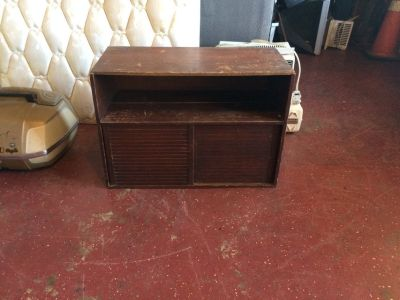 Vintage Solid Wood TV Stand W/ Sliding Door