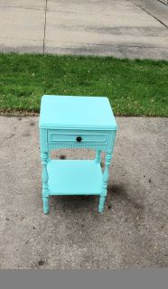 Antique Solid Wood Farmhouse Table Nightstand Done in Light Teal