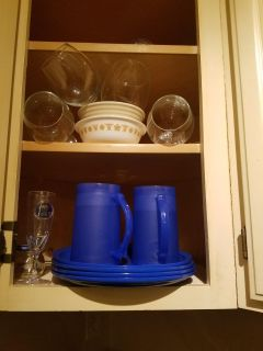 ****FREE***Plates cups and LONG STEM Wine glasses...misc. box of goodies