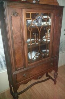 Antique China Cabinet ( tiger wood )Reduced