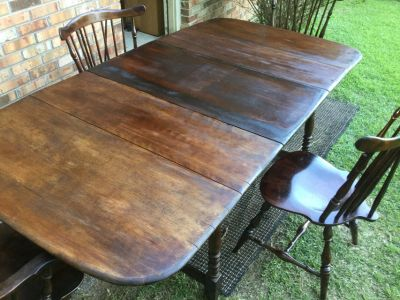 Exotic Antique Solidwood Folding Dinner Table with Center Leaf and Chairs
