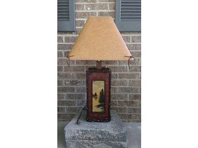 LAMP, LODGE WITH PAINTED FRONT TABLE LAMP. ...
