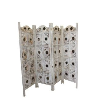 1920s Indian 4-Panel White Wood Screen