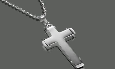 ***BRAND NEW***Two Tone Stainless Steel Cross Pendant Necklace***