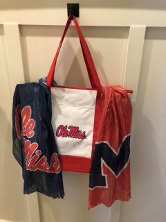Ole Miss Tote Bag with Scarf