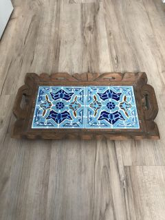 Wooden tray with ceramic tiles