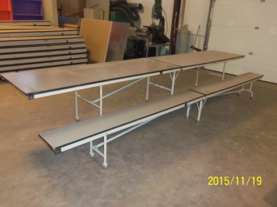 Banquet/Special Events Folding Tables and Benches with Storage Unit For Sale