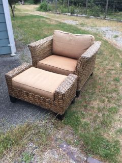 Pier One Imports - Wicker Chair and Ottoman (2 available)