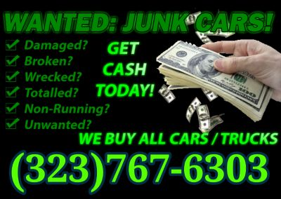 CASH FOR JUNK CARS, CASH FOR CARS, JUNK CARS WANTED