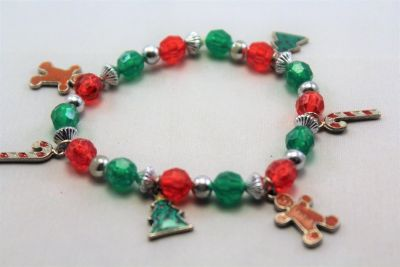 Red Green Christmas Gingerbread Man Tree Holly Jingle Bells Stretch Bracelet