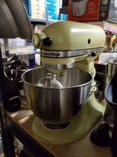 Vintage Almond KitchenAid K45 mixer with bowl & 3 attachments