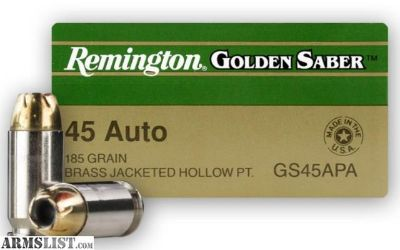 For Sale: Remington Golden Saber 45 +P 185gr Hollow Point Ammo