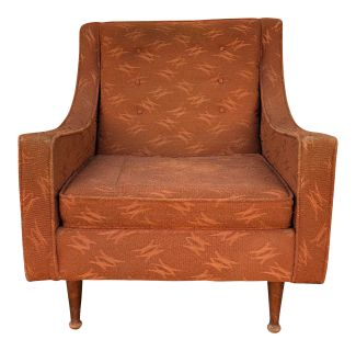 Mid Century Modern Brown Upholstered Lounge Chair