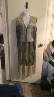 Maxima black lace cardigan with ivory/gold embroidery. No tears or defects size large