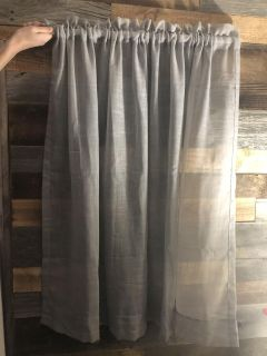 2 Gray Sheer Curtains with Curtain Rods
