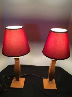 Pottery Barn wood lamps with deep red shades
