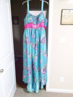 Chiffon and silk formal dress with train. paid $350. worn once-asking $125.00.