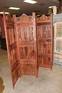 Antique Room Divider Wooden 4 Panel Brown