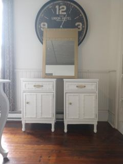 Two Nightstands and Mirror