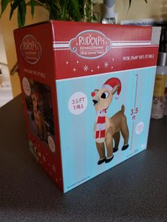 RUDOLPH Red Nosed Reindeer Airblown Inflatable. 3 1/2 ft tall! Indoor/Outdoor use.