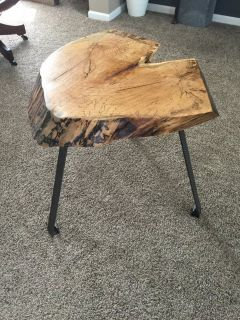 Handmade live edge heart shaped spalted maple side table