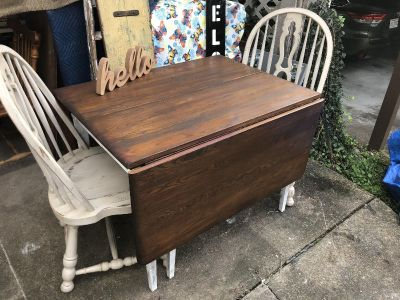 Drop leaf farm table and 2 chairs