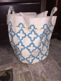 $4, 24 inches tall, 18 inches wide...heavy and durable fabric, can be used for a laundry bag, tote bag etc...