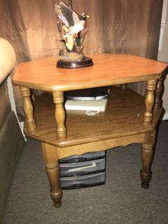 Wooden two level antique end table
