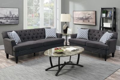 NEW SOFA SET BUTTON BACK ASH GREY COLOR