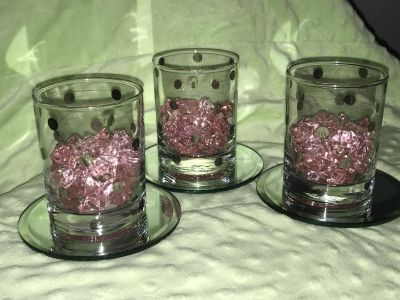 NOT VOTIVE SIZE! 4 Tall, 3 Dia. Clear glass, silver dots, pink stones centerpieces.