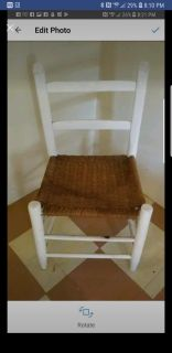 Vintage wood chair with weaved Caning
