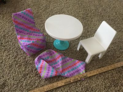 18 inch doll table with 2 chairs, can be used with covers or without, in EUC $7.00