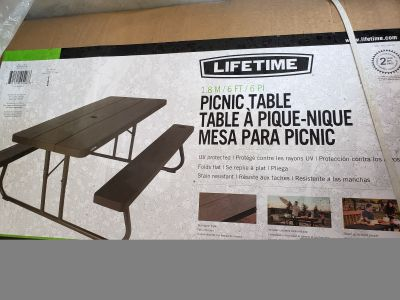 New in box- Lifetime Folding Picnic Table
