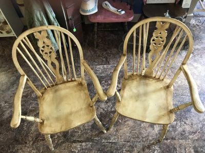 Two Wood Wheel backed Chairs