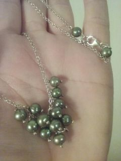 Sterling Silver Green Pearl Necklace