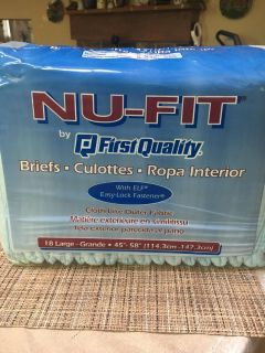 7 packs of Nu Fit size large disposable adult diapers