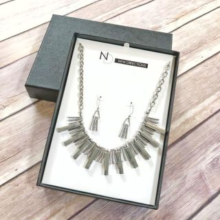 New Directions silver tone and clear crystal modern necklace and earrings set, new in box