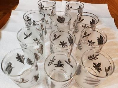 SILVER LEAF LIBBEY 10 OZ. FROSTED TUMBLERS (4)