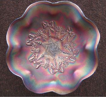 *~ ~ ~ Northwood Carnival Glass Bowl ~ Star of David with Bows ~ ~ ~*