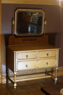 Two Matching Antique Dressers (One with Mirror)