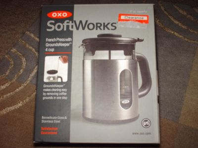 OXO SoftWorks Glass & Stainless Steel 4 Cup French Press with Grounds Keeper