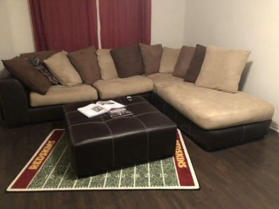 Two piece sectional with ottoman and swivel chair